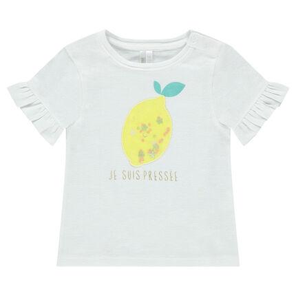 Κοντομάνικη μπλούζα με βολάν και διακοσμητική στάμπα μπροστά