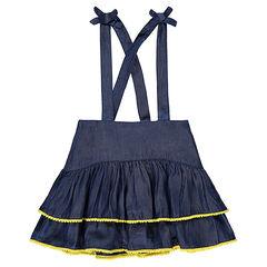 Φόρεμα-σαλοπέτα με βολάν από ύφασμα σαμπρέ με σιρίτια με φουντίτσες