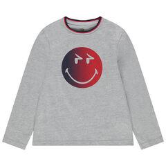 T-shirt manches longues en coton bio print Smiley
