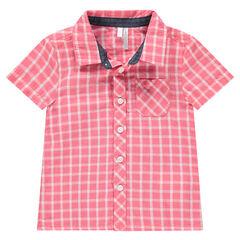 Κοντομάνικο πουκάμισο με καρό σε αντίθεση και τσέπη