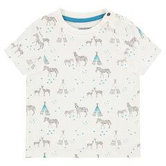 Κοντομάνικη μπλούζα με στάμπα με ζέβρες και σκηνές σε όλη την επιφάνεια