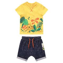 Σύνολο κίτρινη μπλούζα με μοτίβο ζούγκλα και φανελένια βερμούδα με τσέπη