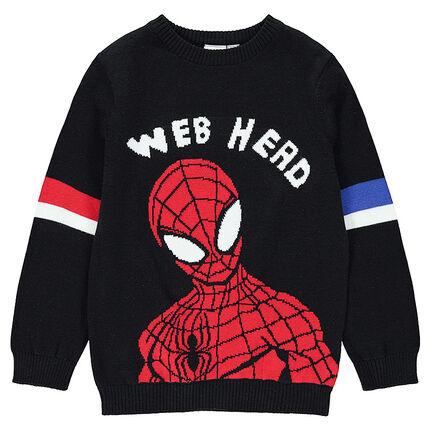 Πλεκτό πουλόβερ με ζακάρ μοτίβο Spiderman της ©Marvel
