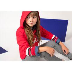 Παιδικά - Κόκκινο φούτερ με κουκούλα και μπουκλέ φράση