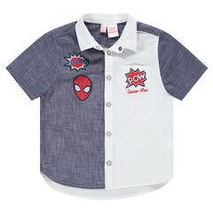 Δίχρωμο κοτνομάνικο πουκάμισο με κεντημένα σήματα Spiderman της ©Marvel