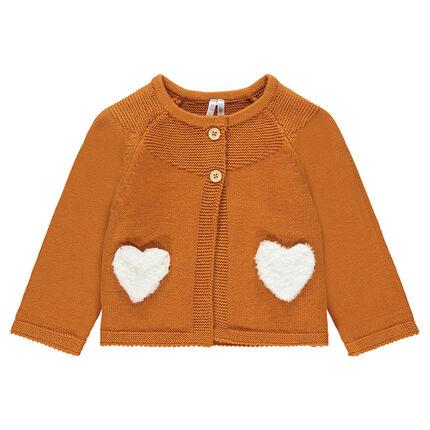 Πλεκτή καμηλό ζακέτα με τσέπες από sherpa σε σχήμα καρδιάς