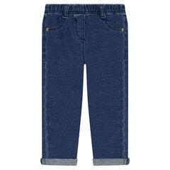 Εφαρμοστό παντελόνι-κολάν με used όψη και ελαστική μέση