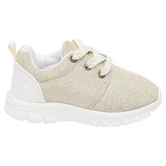 Χρυσαφί χαμηλά αθλητικά παπούτσια με ελαστικά κορδόνια σε νούμερα 20 έως 23