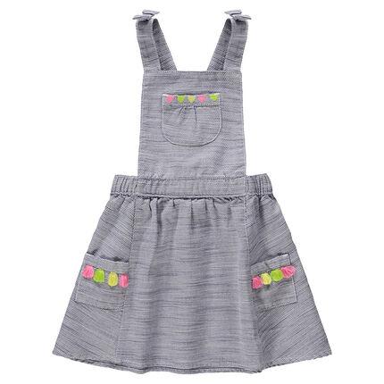 Βαμβακερό φόρεμα με μοτίβα, τσέπες και χρωματιστές φουντίτσες