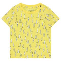 Κοντομάνικη ζέρσεϊ μπλούζα με διακοσμητικές στάμπες