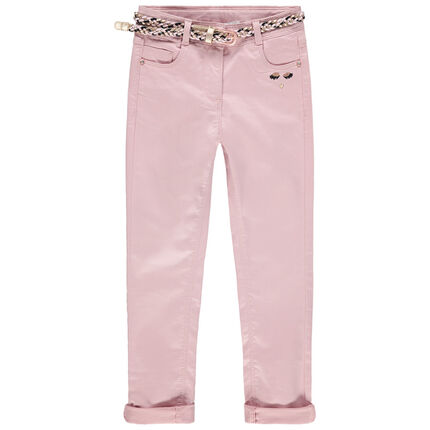 Slim παντελόνι σε απαλό ροζ με αφαιρούμενη ζώνη σε σχέδιο πλεξίδα