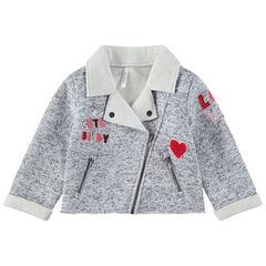 Σακάκι με πέτο, μελανζέ όψη, απλικέ γράμματα και τσέπες με φερμουάρ