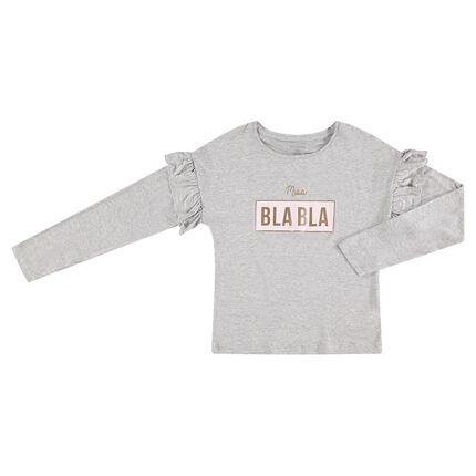Παιδικά - Μακρυμάνικη μπλούζα από ζέρσεϊ με βολάν στα μανίκια