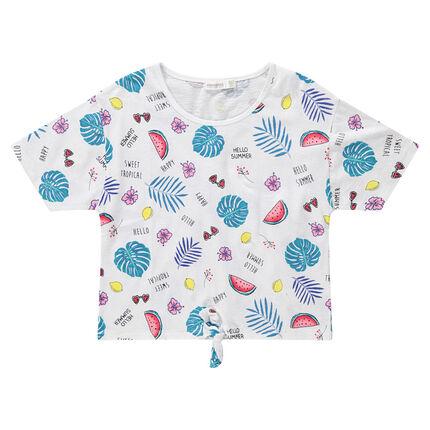 Παιδικά - Κοντομάνικη μπλούζα με εξωτικό μοτίβο και κορδόνια που δένουν