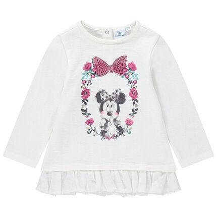 Φανελένιο φούτερ με βολάν από τούλι και στάμπα Μίνι της Disney