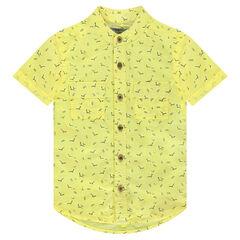 Κοντομάνικο πουκάμισο από ελαφρύ βαμβάκι με μοτίβο σε όλη την επιφάνεια