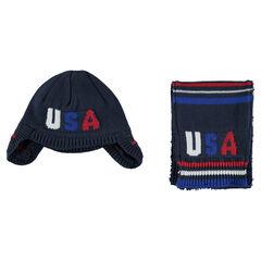 Ensemble bonnet et écharpe doublés sherpa motif jacquard