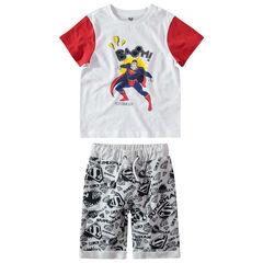 Σύνολο μπλούζα με στάμπα Superman της Marvel και εμπριμέ βερμούδα