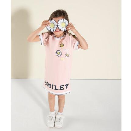 Κοντομάνικο φόρεμα σε στυλ T-shirt με κεντήματα και στάμπα Smiley