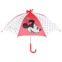 Ομπρέλα με πουά πλευρές και στάμπα Minnie της ©Disney
