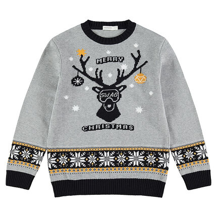 Παιδικά - Πλεκτό πουλόβερ με ζακάρ ελάφι και vintage μοτίβο