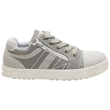 Πάνινα αθλητικά παπούτσια με κορδόνια και φερμουάρ στο πλάι