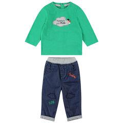 Σετ των 2 με μακρυμάνικη πράσινη μπλούζα και τζιν με κεντήματα
