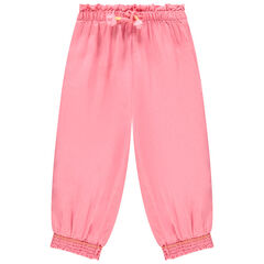 παντελόνι μονόχρωμο ροζ με μέση με λάστιχο , Orchestra