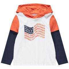 Μακρυμάνικη μπλούζα 2 σε 1 με τυπωμένη σημαία