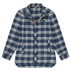 Παιδικά - Μακρυμάνικο πουκάμισο από φανέλα με καρό σε χρώμα που κάνει αντίθεση