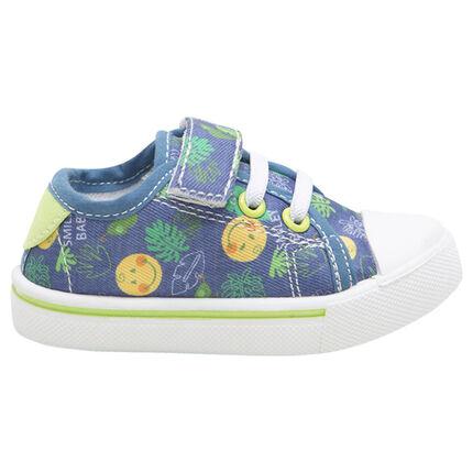 27e4a599011 Υφασμάτινα χαμηλά αθλητικά παπούτσια με αυτοκόλλητο velcro, κορδόνια ...