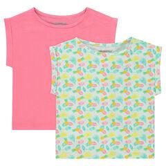 Σετ με 2 ζέρσεϊ κοντομάνικες μπλούζες σε τετράγωνη γραμμή