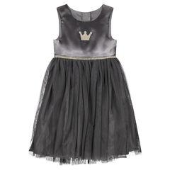 Γκρι αμάνικο φόρεμα από δύο υλικά με κεντημένη χρυσαφί κορώνα και σιρίτι