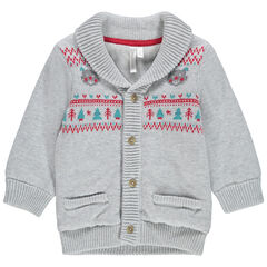 Gilet en tricot doublé sherpa avec motifs esprit vintage
