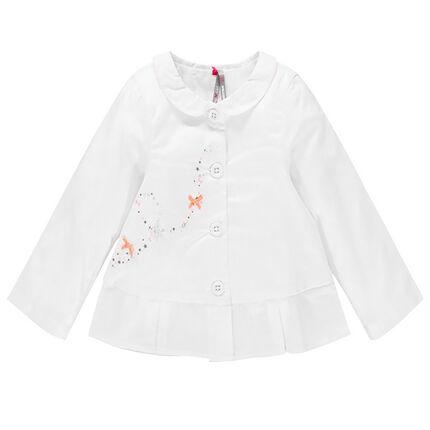 Veste blanche de cérémonie en voile de coton