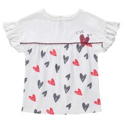 Κοντομάνικη μπλούζα με βολάν στα μανίκια και μοτίβο καρδιές