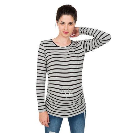 Μονόχρωμη μακρυμάνικη μπλούζα εγκυμοσύνης από ζέρσεϊ