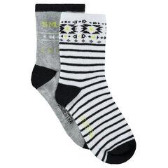 Σετ με 2 ζευγάρια ασορτί κάλτσες με έθνικ μοτίβο