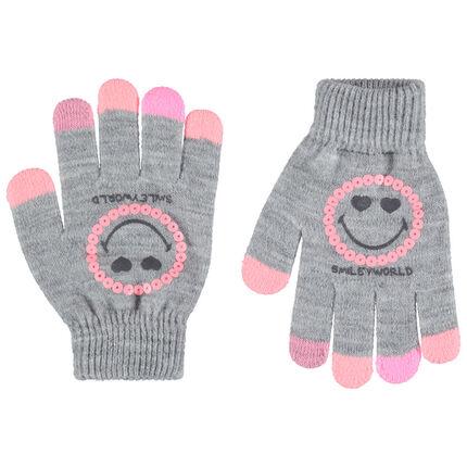 Πλεκτά μελανζέ γάντια με στάμπα Smiley και ροζ πούλιες