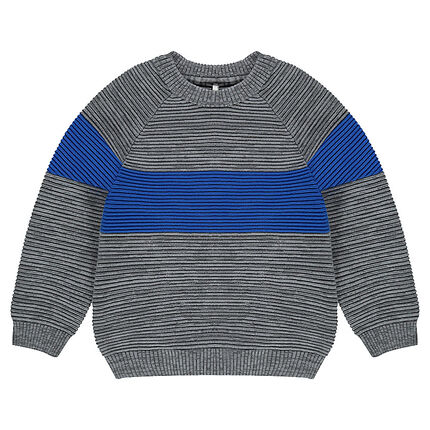 Πλεκτό πουλόβερ με λωρίδα σε αντίθεση