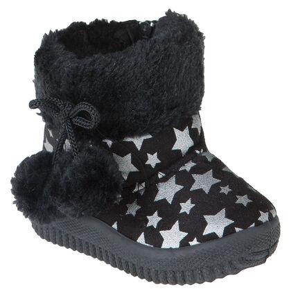 Chaussons bottines fausse fourrure avec pompons et imprimé étoiles