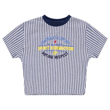 Κοντομάνικη ριγέ μπλούζα με τυπωμένες φράσεις