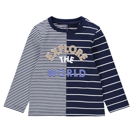 Μακρυμάνικη μπλούζα με ρίγες και πετσετέ γράμματα