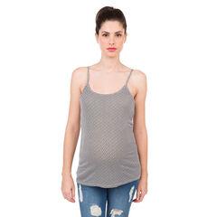 Σετ 2 τοπ εγκυμοσύνης με τιράντες, ένα μονόχρωμο/ένα εμπριμέ