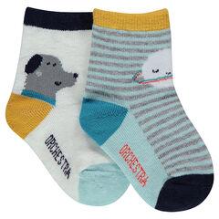 Σετ με 2 ζευγάρια ασορτί κάλτσες με ρίγες και τυπωμένα ζωάκια