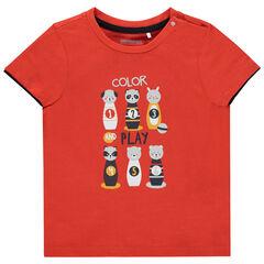T-shirt manches courtes en coton bio print animaux , Orchestra