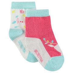 Σετ 2 ζευγάρια ασορτί κάλτσες με διακοσμητικό μοτίβο