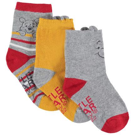 Σετ 3 ζευγάρια ασορτί κάλτσες με τον Γουίνι το αρκουδάκι της Disney