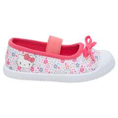 Υφασμάτινα παπουτσάκια με μπαρέτα, μοτίβο φλοράλ και στάμπα Hello Kitty