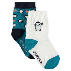 Σετ με 2 ζευγάρια ασορτί κάλτσες με μοτίβο πιγκουίνους